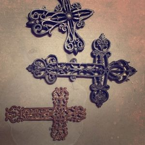 3 Metal Wall Decor Crosses- Variety of Sizes